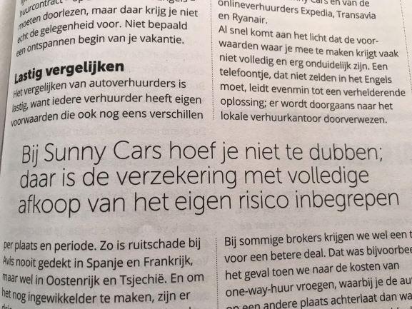 Geen eigen risico bij autohuur Sunnycars